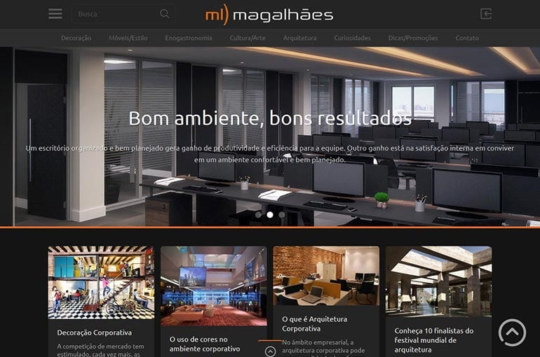 Captura de tela do site da ML Magalhães